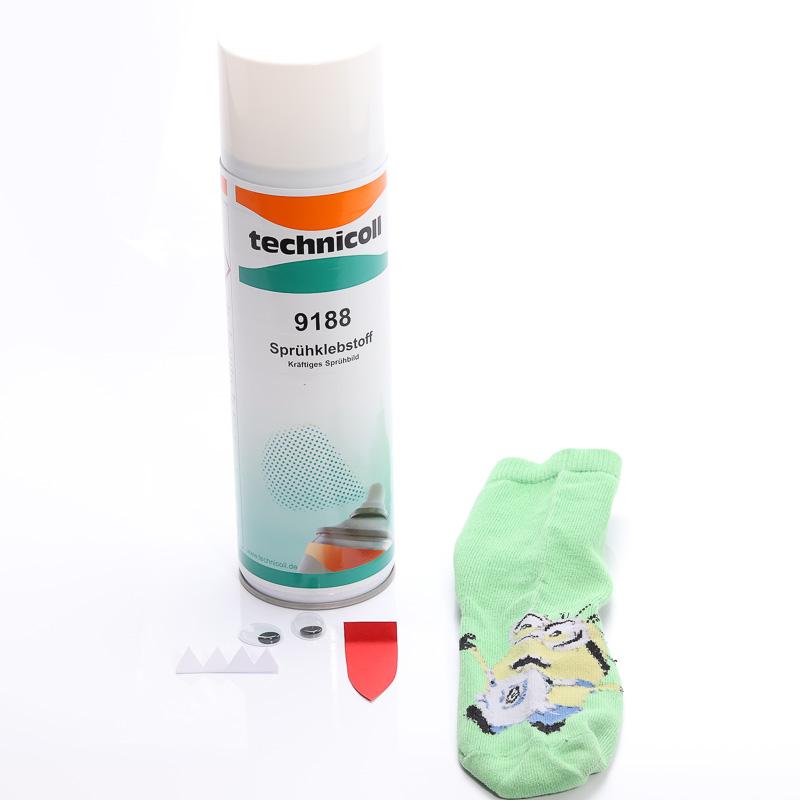 Sockenmonster geklebt mit Sprühkleber technicoll 9188